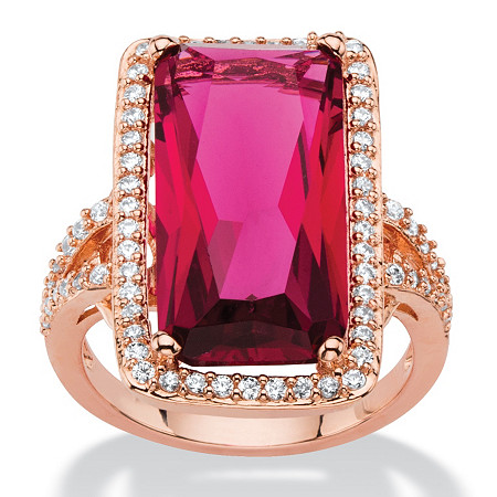 27.56 TCW Emerald-Cut Rose Cubic Zirconia Halo Cocktail Ring Rose Gold-Plated with White CZ Accents at PalmBeach Jewelry