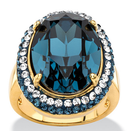 Oval-Cut Sapphire Blue Crystal Halo Ring with Blue and White Crystal Accents MADE WITH SWAROVSKI ELEMENTS 18k Gold-Plated at PalmBeach Jewelry