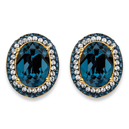 Oval-Cut Simulated London Blue Sapphire Halo Stud Earrings MADE WITH SWAROVSKI ELEMENTS 18k Gold-Plated at PalmBeach Jewelry