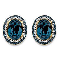 Blue Sapphire Halo Stud Earrings MADE WITH SWAROVSKI ELEMENTS ONLY $29.99