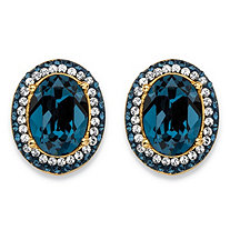 Oval-Cut Simulated London Blue Sapphire Halo Stud Earrings MADE WITH SWAROVSKI ELEMENTS 18k Gold-Plated