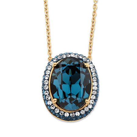 Oval-Cut Simulated London Blue Sapphire Halo Pendant Necklace MADE WITH SWAROVSKI ELEMENTS 18k Gold-Plated 18