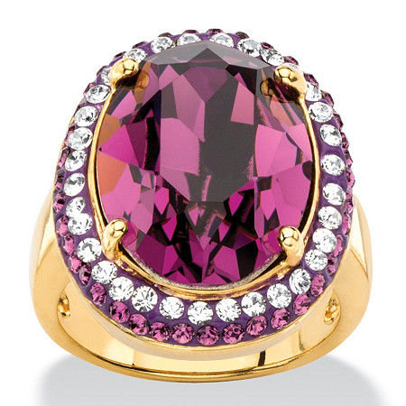 Oval-Cut Simulated Purple Amethyst Halo Ring MADE WITH SWAROVSKI ELEMENTS 18k Gold-Plated at PalmBeach Jewelry