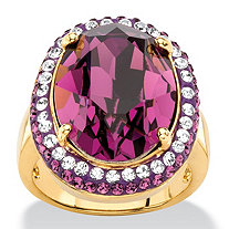Oval-Cut Amethyst Purple Crystal Halo Ring with White Crystal Accents MADE WITH SWAROVSKI ELEMENTS 18k Gold-Plated