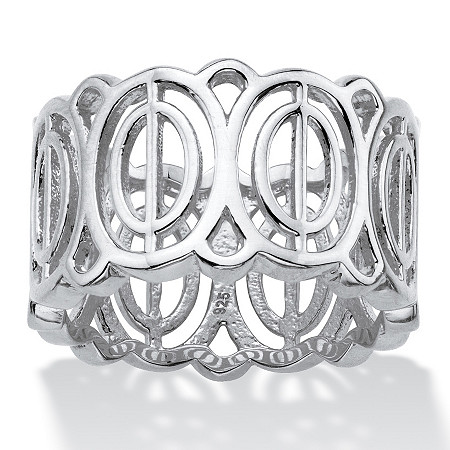 Oval-Link Geometric Eternity Ring in Sterling Silver at PalmBeach Jewelry