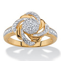 White Pave-Style Diamond Accent Two-Tone Beaded Love Knot Swirled Cluster Ring 18k Gold-Plated