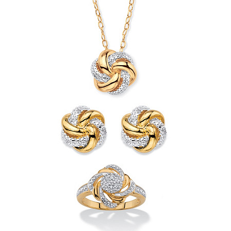 Diamond Accent Two-Tone 3-Piece Beaded Pave-Style Love Knot Pendant Necklace, Button Earrings and Ring Set 18k Gold-Plated 18