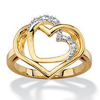 White Diamond Accent Pave-Style Intertwined Double Hearts Ring 14k Gold-Plated