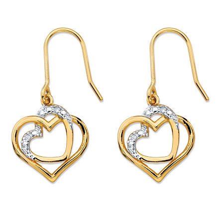 White Diamond Accent Pave-Style Intertwined Double Heart Drop Earrings 14k Gold-Plated at PalmBeach Jewelry