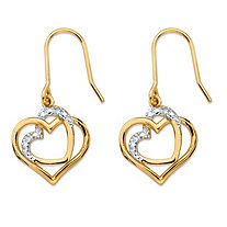 White Diamond Accent Pave-Style Intertwined Double Heart Drop Earrings 14k Gold-Plated