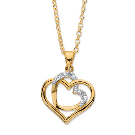 White Diamond Accent Pave-Style Intertwined Double Heart Pendant Necklace 14k Gold-Plated 18