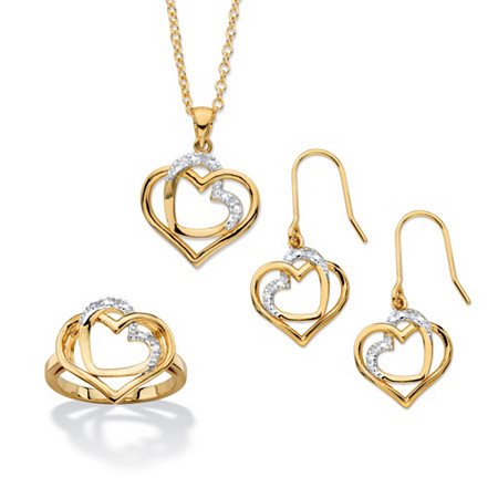 1/10 TCW Diamond Accent 14k Gold-Plated Pave-Style 3-Piece Intertwined Double Heart Necklace, Earrings and Ring Set 18