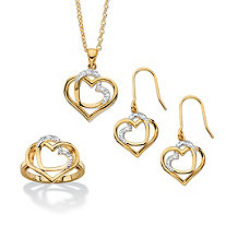 1/10 TCW Diamond Accent 14k Gold-Plated Pave-Style 3-Piece Intertwined Double Heart Necklace, Earrings and Ring Set 18""