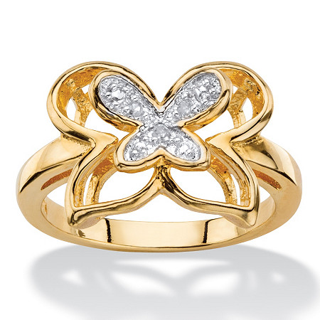 White Diamond Accent Two-Tone Pave-Style Double Butterfly Ring 14k Gold-Plated at PalmBeach Jewelry