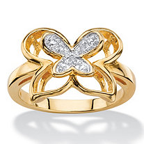 White Diamond Accent Two-Tone Pave-Style Double Butterfly Ring 14k Gold-Plated