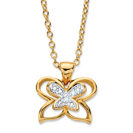 Diamond Accent Two-Tone Pave-Style Double Butterfly Pendant Necklace 14k Gold-Plated Adjustable 18