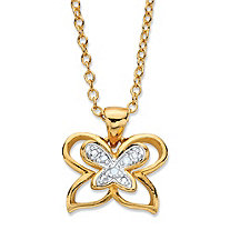 "Diamond Accent Two-Tone Pave-Style Double Butterfly Pendant Necklace 14k Gold-Plated Adjustable 18""-20"""