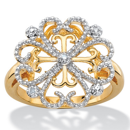 White Diamond Accent Two-Tone Pave-Style Vintage-Inspired Floral Heart Cocktail Ring 14k Gold-Plated at PalmBeach Jewelry