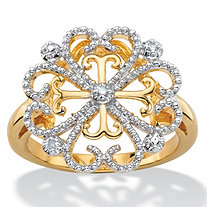 White Diamond Accent Two-Tone Pave-Style Vintage-Inspired Floral Heart Cocktail Ring 14k Gold-Plated