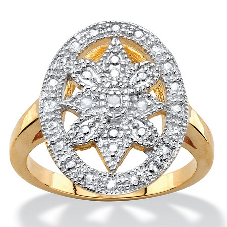 White Diamond Accent Two-Tone Pave-Style Oval Vintage-Inspired Floral Motif Cocktail Ring 14k Gold-Plated at PalmBeach Jewelry