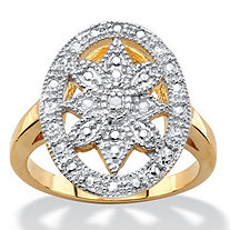 White Diamond Accent Two-Tone Pave-Style Oval Vintage-Inspired Floral Motif Cocktail Ring 14k Gold-Plated