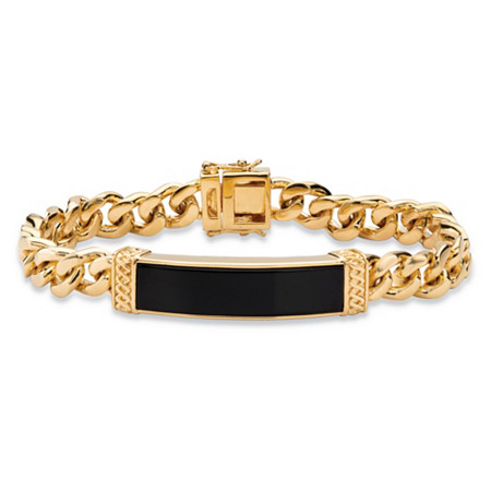 "Men's Emerald-Cut Genuine Black Onyx Curb-Link Bracelet 14k Gold-Plated 8.5"" at PalmBeach Jewelry"