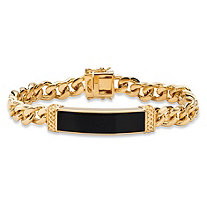 Men's Emerald-Cut Genuine Black Onyx Curb-Link Bracelet 14k Gold-Plated 8.5""