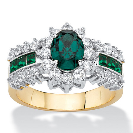 Oval-Cut Simulated Emerald and Cubic Zirconia Halo Cocktail Ring 3.04 TCW 14k Gold-Plated at PalmBeach Jewelry