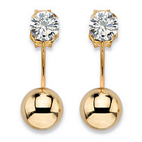 ".50 TCW Cubic Zirconia Martini Stud and Ball Ear Jacket Drop Earrings in 10k Yellow Gold (5/8"")"