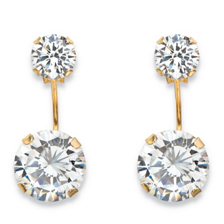 5 TCW Round Cubic Zirconia Stud Ear Jacket Drop Earrings in 10k Yellow Gold (5/8
