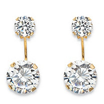 "5 TCW Round Cubic Zirconia Stud Ear Jacket Drop Earrings in 10k Yellow Gold (5/8"")"