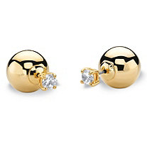 1.96 TCW Round Cubic Zirconia and Golden Ball Reversible Front-Back Stud Earring 14k Gold-Plated
