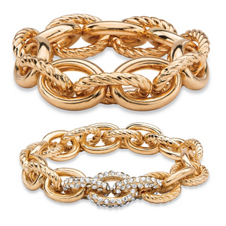 Oval-Link Designer-Inspired Crystal Accent 2-Piece Tailored and Textured Stretch Bracelet Set in Gold Tone 8
