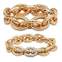 Oval-Link Designer-Inspired Crystal Accent 2-Piece Tailored and Textured Stretch Bracelet Set in Gold Tone 8""