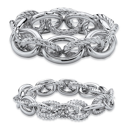 Oval-Link Designer-Inspired Crystal Accent 2-Piece Tailored and Textured Stretch Bracelet Set in Silvertone 8