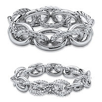 Oval-Link Designer-Inspired Crystal Accent 2-Piece Tailored and Textured Stretch Bracelet Set in Silvertone 8""