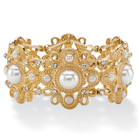 Round Simulated Pearl and Crystal Vintage-Style Floral Motif Stretch Bracelet in Gold Tone 7.25