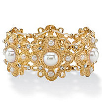 Round Simulated Pearl and Crystal Vintage-Style Floral Motif Stretch Bracelet in Gold Tone 7.25""