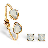 Aurora Borealis Simulated Opal Vintage-Style 2-Piece Round Stud Earrings and Hinged Cuff Bracelet Set in Gold Tone 7.75""