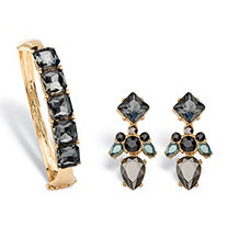 Grey and Black Crystal Gold Tone 2-Piece Multi-Cut Drop Earrings and Hinged Bangle Bracelet Set 7.5""