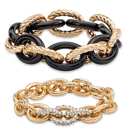 Oval-Link Designer-Inspired Crystal Accent 2-Piece Stretch Bracelet Set in Gold Tone and Black Ion-Plated 8