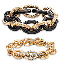 Oval-Link Designer-Inspired Crystal Accent 2-Piece Stretch Bracelet Set in Gold Tone and Black Ion-Plated 8""