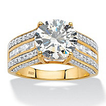 5.11 TCW Round Cubic Zirconia Multi-Row Engagement Channel-Set Ring in 18k Gold over Sterling Silver