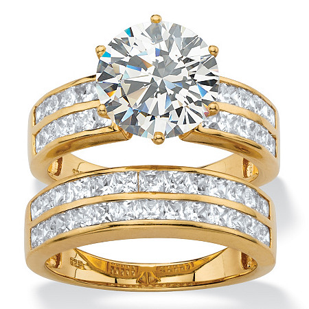 5.84 TCW Round Cubic Zirconia  Multi-Row 2-Piece Channel-Set Bridal Ring Set in 18k Gold over Sterling Silver at PalmBeach Jewelry