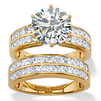 5.84 TCW Round Cubic Zirconia  Multi-Row 2-Piece Channel-Set Bridal Ring Set in 18k Gold over Sterling Silver