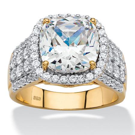 3.68 TCW Cushion-Cut and Pave Cubic Zirconia Halo Engagement Ring in 18k Gold over Sterling Silver at PalmBeach Jewelry