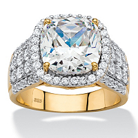 Cushion-Cut And Pave Cubic Zirconia Halo Engagement Ring In 18k Gold Over Sterling Silver