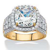 3.68 TCW Cushion-Cut and Pave Cubic Zirconia Halo Engagement Ring in 18k Gold over Sterling Silver