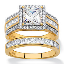 3.50 TCW Square-Cut Cubic Zirconia 2-Piece Multi-Row Halo Bridal Ring Set in 18k Gold over Sterling Silver