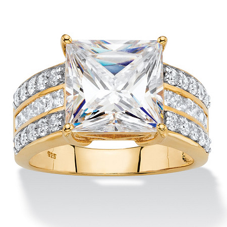 4.21 TCW Princess-Cut Cubic Zirconia Multi-Row Bridal Engagement Ring in 18k Gold over Sterling Silver at PalmBeach Jewelry